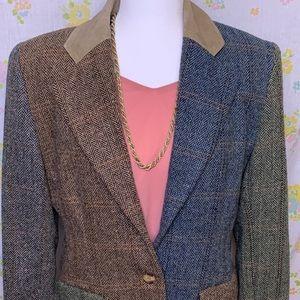 Vintage Patchwork Design Wool Blazer
